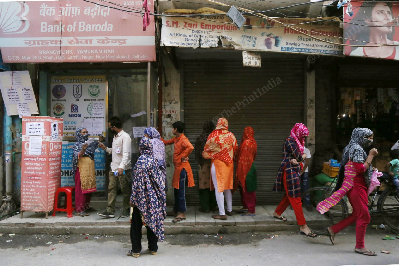 Women of Mustafabad on the streets looking for ration in the national capital. | Photo: Manisha Mondal/ThePrint