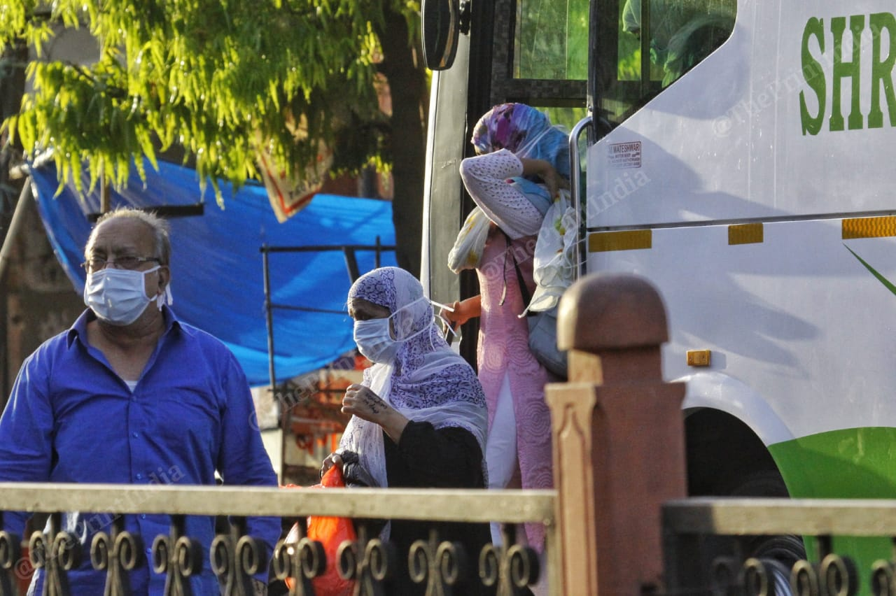 Ramganj's first batch of patients in isolation return home after testing negative for Covid-19. All were relatives of the man who first tested positive in the area. | Photo: Praveen Jain/ThePrint