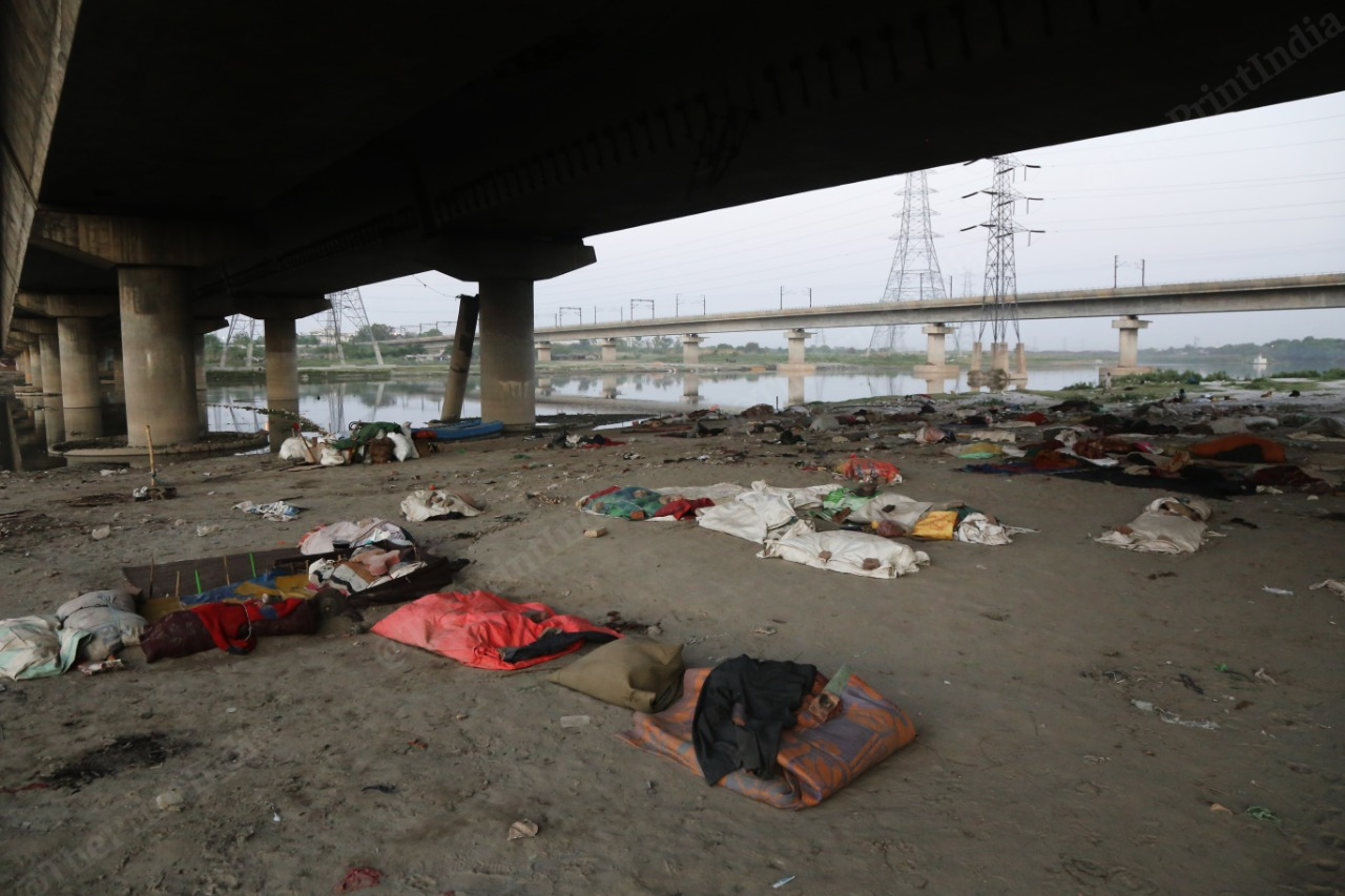The belongings of people who were staying at the banks of Yamuna in New Delhi. | Photo: Manisha Mondal/ThePrint
