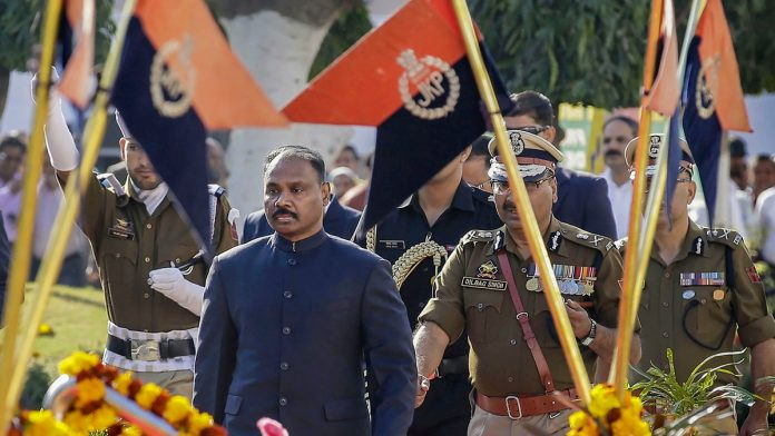 First Lieutenant Governor of Jammu and Kashmir, Girish Chandra Murmu, inspects the guard of honour on the first day of the re-opening of the Civil Secretariat following the annual 'Darbar Move', in Jammu. | PTI