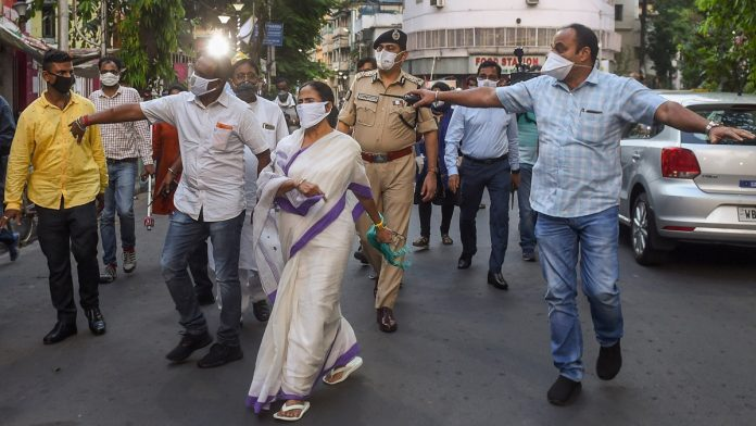 West Bengal Chief Minister Mamata Banerjee visits a ration shop during the lockdown in Kolkata on 17 April 2020