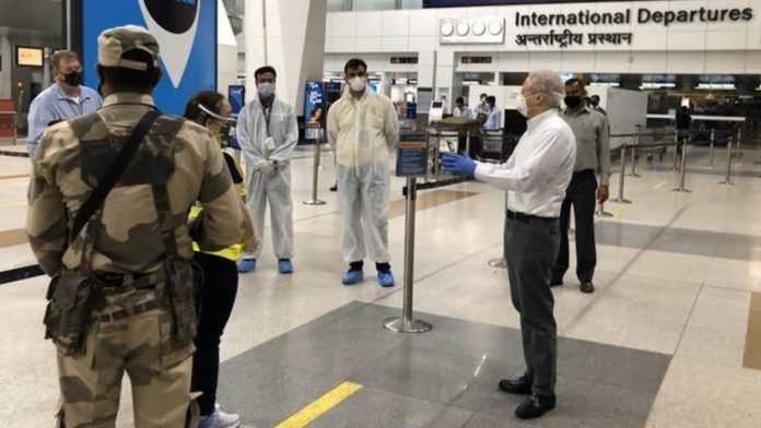 US Ambassador to India Kenneth Juster at the Delhi airport Sunday monitoring the repatriation process for US citizens. | Photo: Twitter/State_SCA