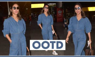 Hina Khan slays the airport look with this chic and uber cool denim outfit-view pics | Bollywood Bubble