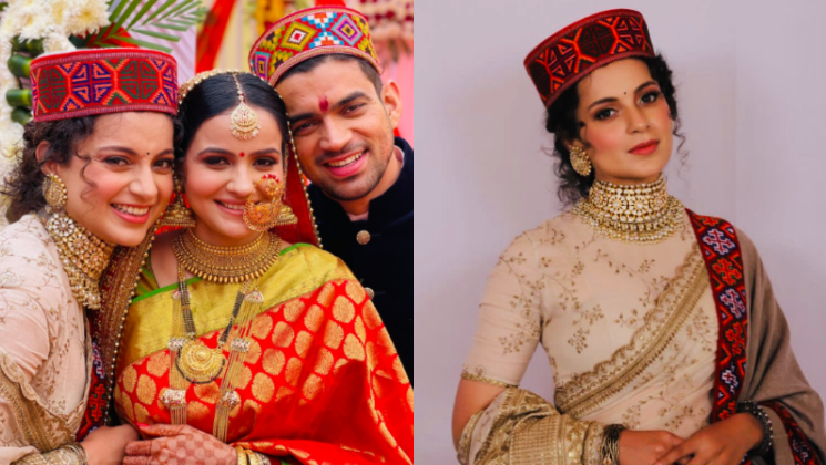 Kangana Ranaut looks oh-so-gorgeous as she dresses up in traditional 'Pahadi' attire for her brother's wedding reception | Bollywood Bubble