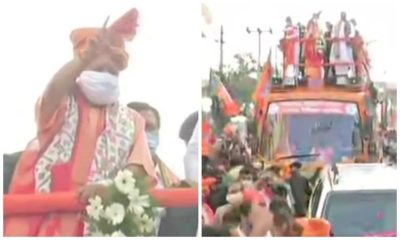 Yogi Adityanath holds roadshow in Hyderabad ahead of Municipal election