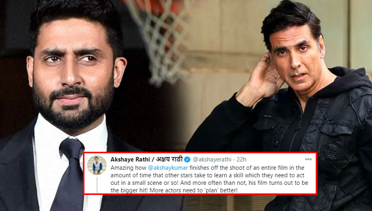 Abhishek Bachchan says 'not fair' as a film exhibitor praises Akshay Kumar while taking dig at other actors | Bollywood Bubble