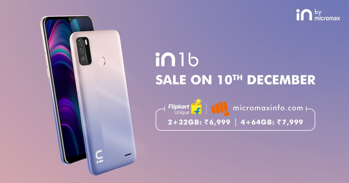 Micromax IN 1b to finally go on sale on 10th December