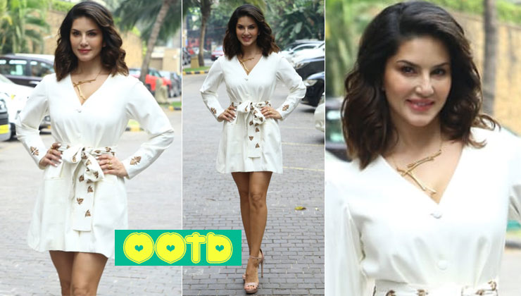 Stunner Sunny Leone slays in white embroidered mini coat dress-view pics   Bollywood Bubble