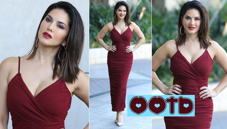 Sunny Leone's sensuous maroon dress is perfect for this Christmas! | Bollywood Bubble
