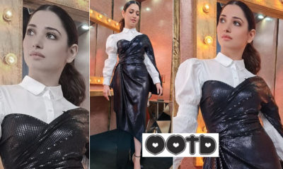 Tamannaah Bhatia makes heads turn in her metallic black wrap-dress | Bollywood Bubble