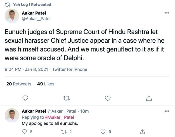 'Activist' Aakar Patel goes on a vile tirade against Supreme Court of India
