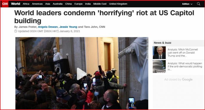 CNN article listing 'world leaders' who condemned Capitol Hill violence