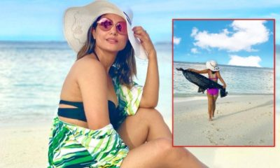 Hina Khan looks flawless in a purple bikini on her tropical getaway- view pics | Bollywood Bubble