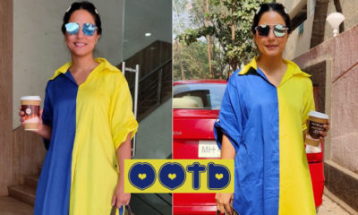 Hina Khan looks chic and stylish in this comfy yellow and blue dress; view pics | Bollywood Bubble