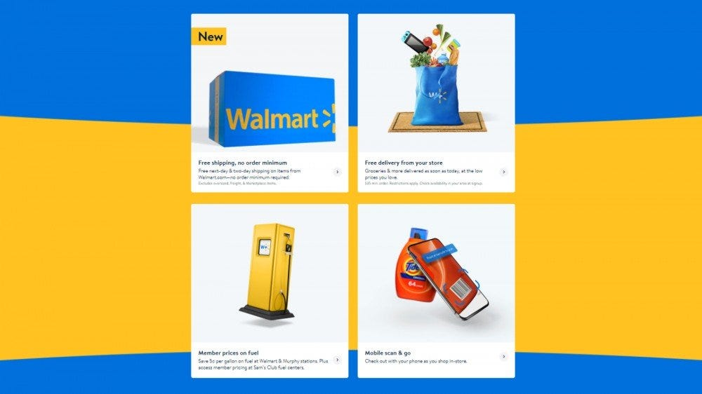 Walmart+ landing page with all benefits listed