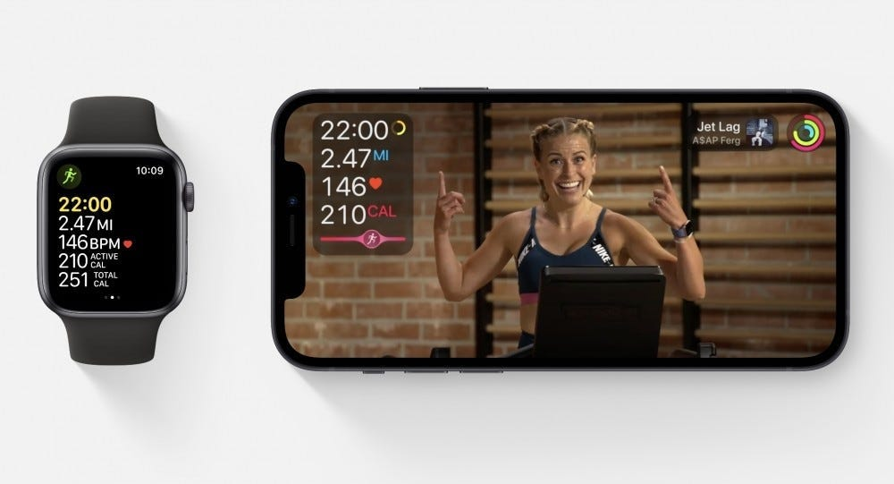 apple watch and iphone showing fitness+