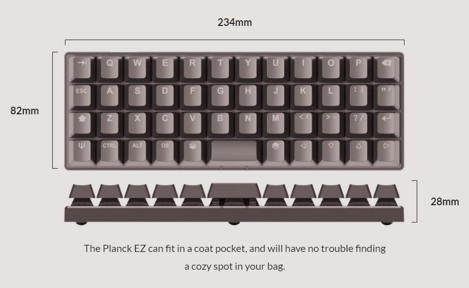 The Planck EZ, a small pre-assembled ortholinear keyboard.