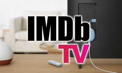 The IMDb TV logo over a Chromcast with Google TV.