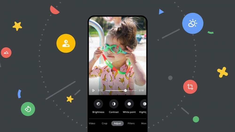 An Android phone with several video editor options including contrast, brightness, and highlights.