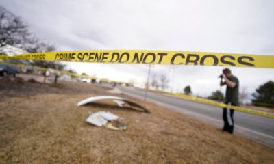 Parts of a plane fall from the sky after Boeing 777 engine failure in Colorado