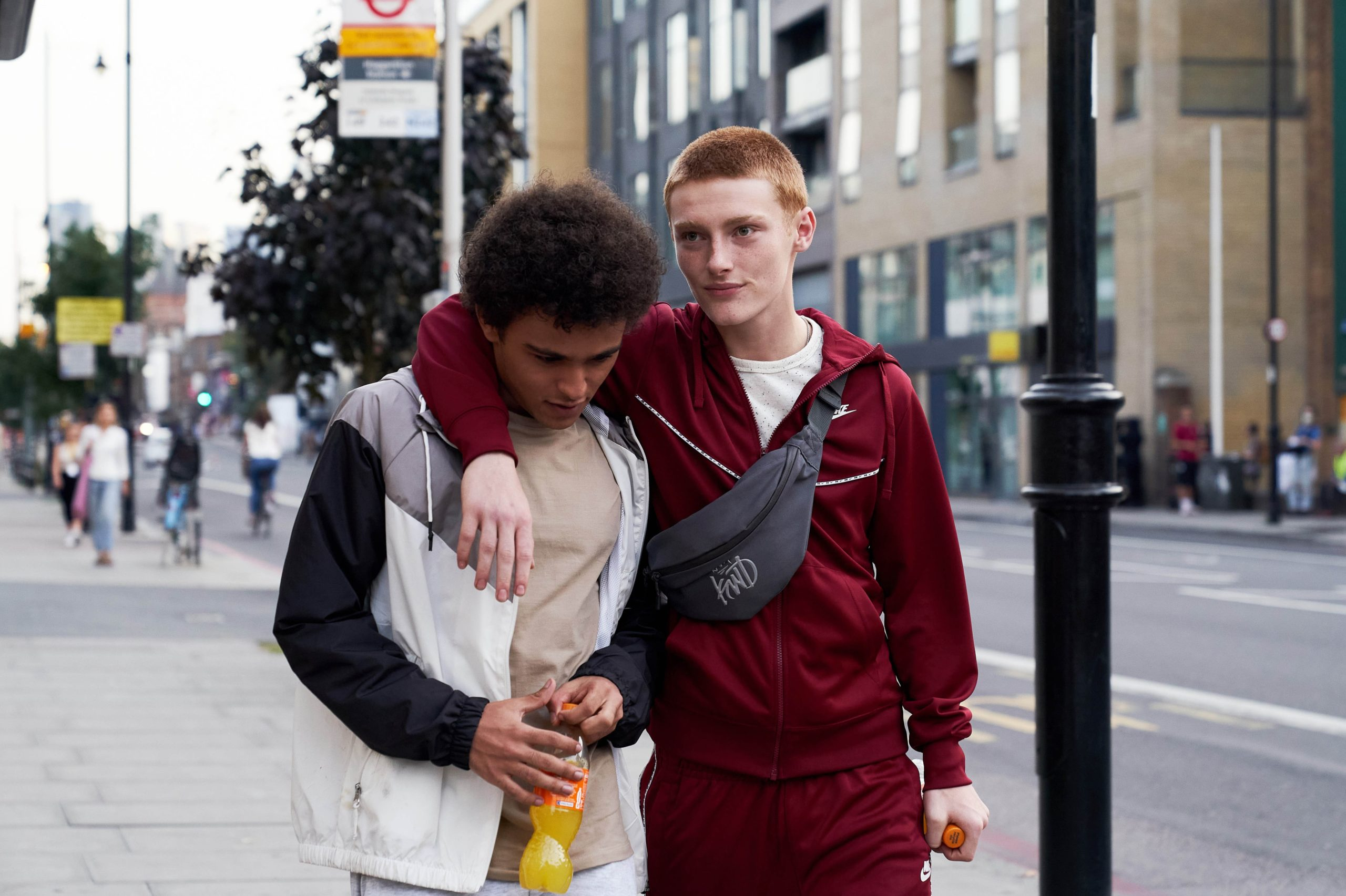 <p>Lewis (Jude Chinchen) and Noah (Hector Abbot) in Boys</p>