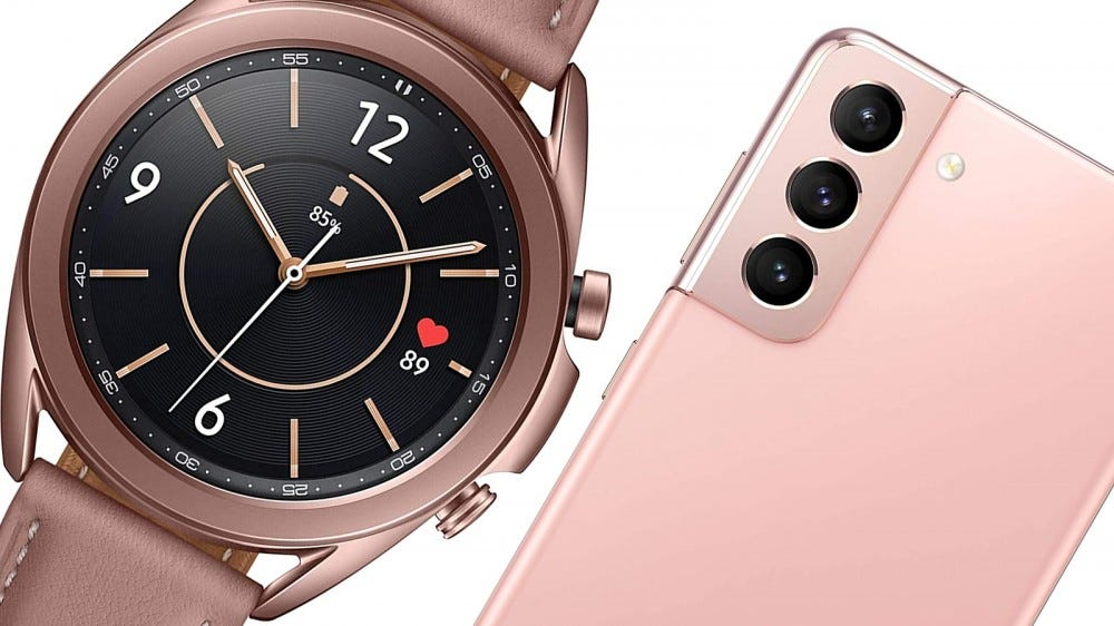 The Galaxy Watch 3 and Samsung Galaxy S21 smartphone.