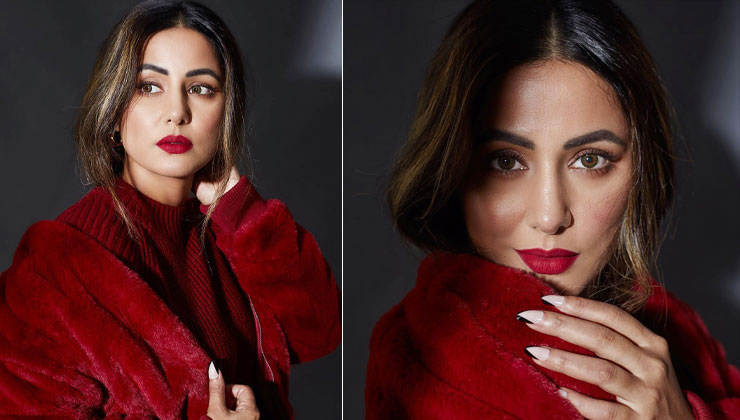 Hina Khan amps up her winter style in red and we're all hearts for it | Bollywood Bubble