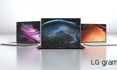 Three LG gram laptops set against a white background.