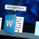 Starting Microsoft Word application on laptop screen close-up