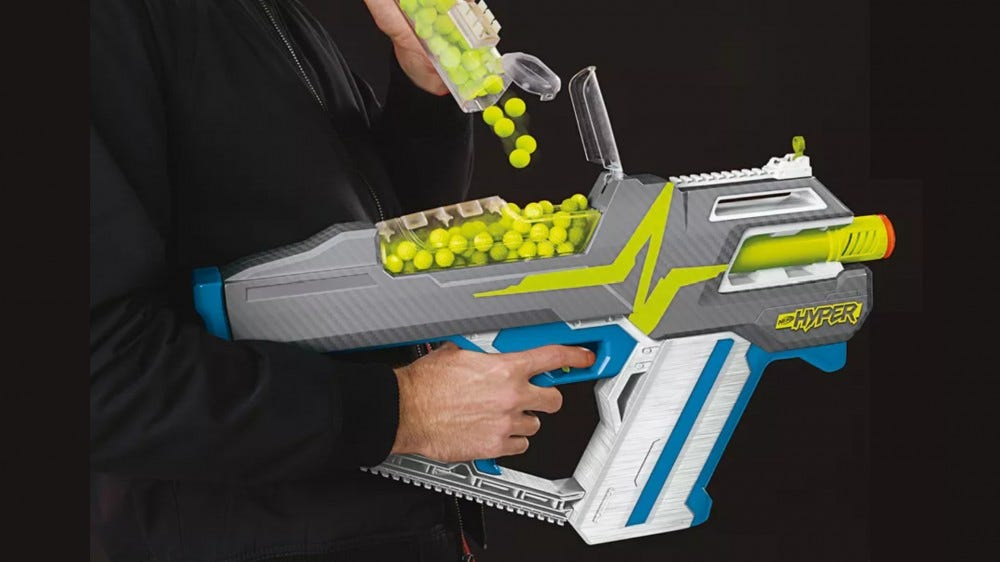New Nerf Hyper blaster with fast reloads and high-capacity storage