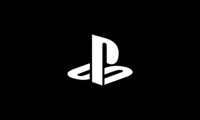 PlayStation logo in white against black background