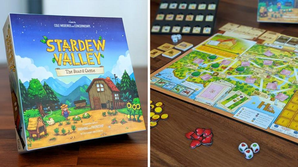 Stardew Valley board game box top and active gameplay with cards and tokens