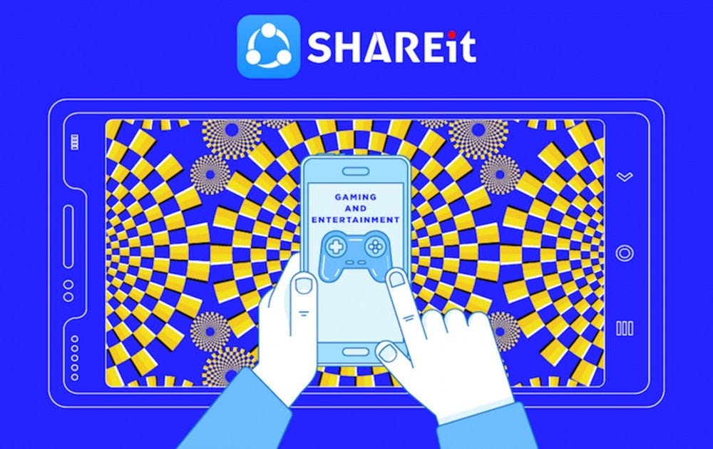 A graphic of the ShareIt app with a game store open.