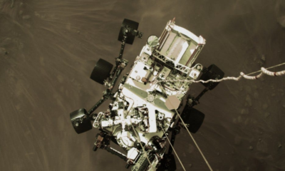 The Mars Perseverance rover just before landing.