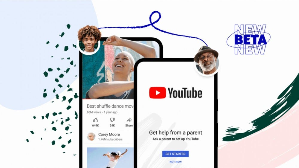 YouTube app open with age-appropriate content options