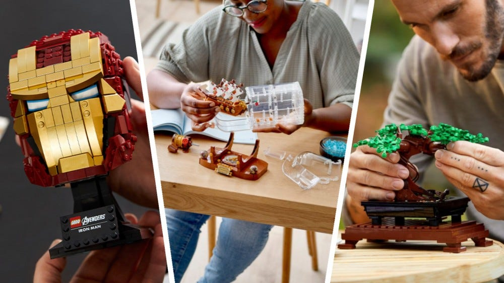 LEGO Marvel Iron Man Helmet, Ideas Ship in a Bottle, and Creator Expert Bonsai Tree in a collage