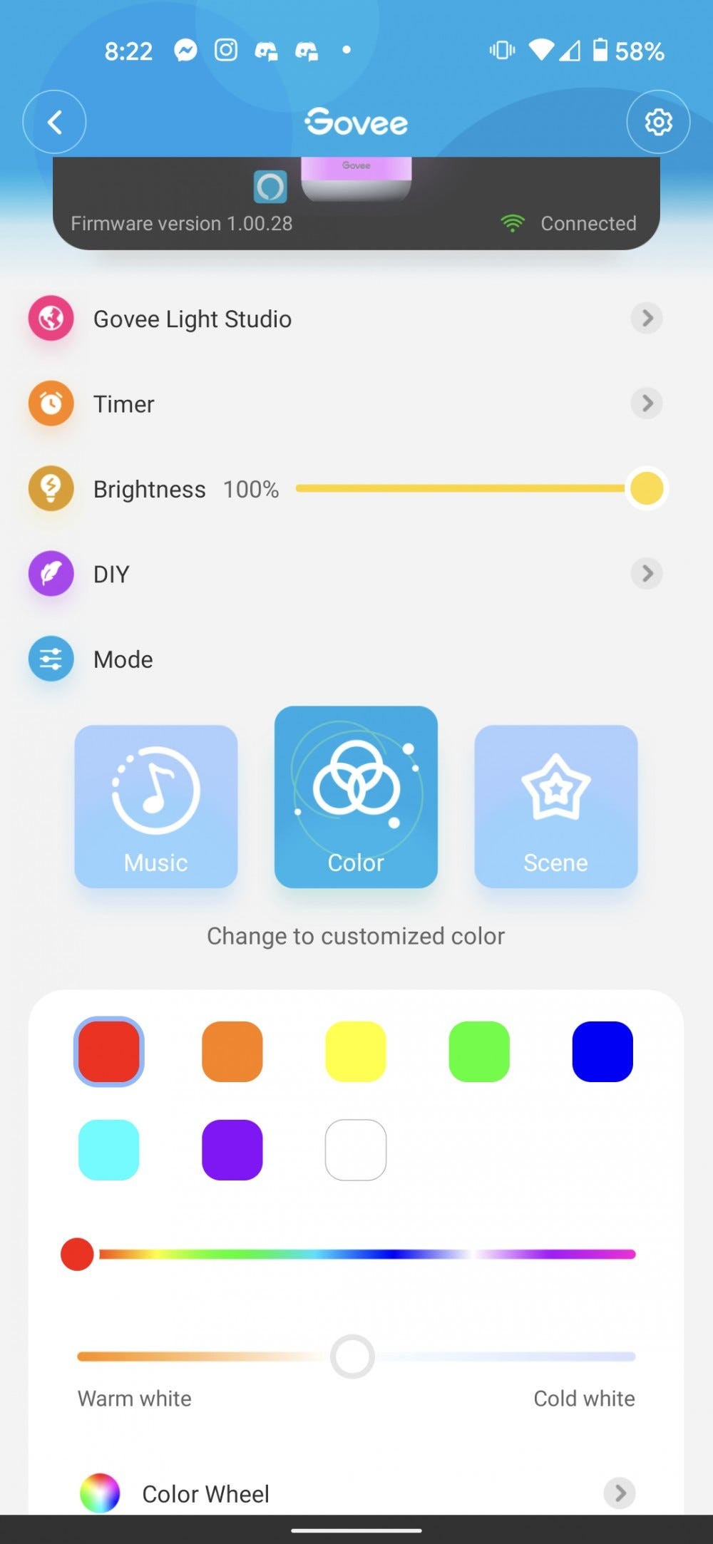 The Govee app showing the solid color option for the Aura Lamp