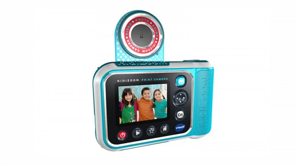 The back side of the KidiZoom PrintCam, with its digital screen and flippable lens.