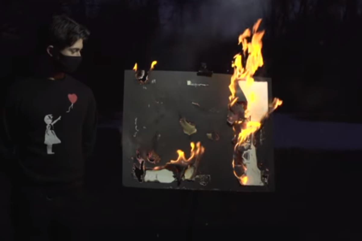 Banksy painting destroyed by fire goes up in value by $300,000