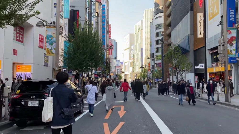 Walking down a street in Japan