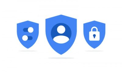 Three blue shields, with people, toggle, and lock icons.