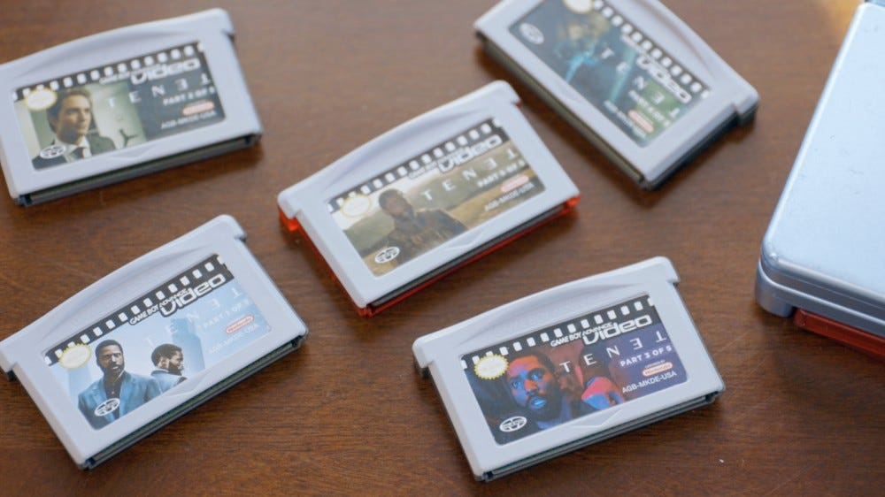 A photo of WULFF DEN's five 'Tenet' GBA Video carts.