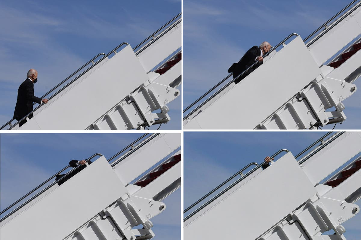 Joe Biden stumbles THREE times on the steps of Air Force One