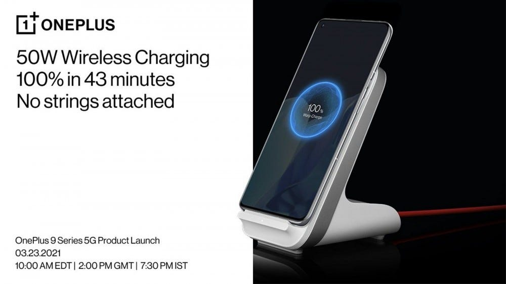 A OnePlus 9 Pro on a wireless charging stand.