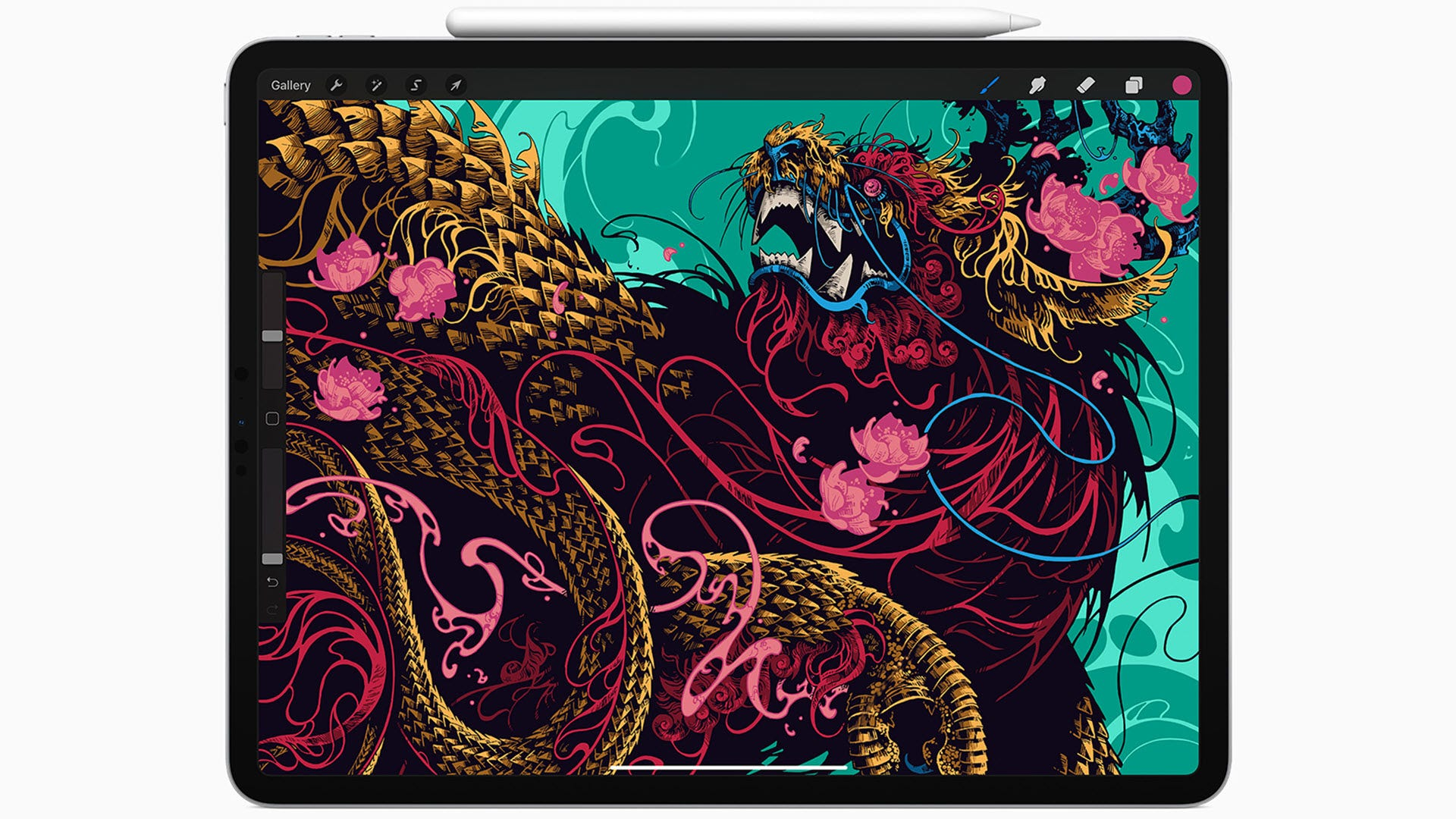 An iPad Pro with a dragon on the screen.