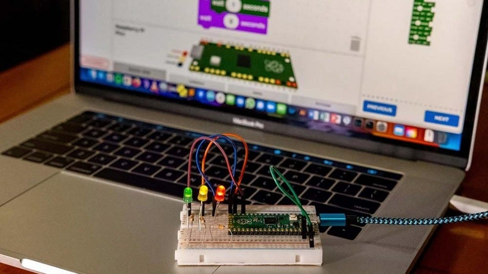 A Raspberry Pi Pico connected to a breadboard