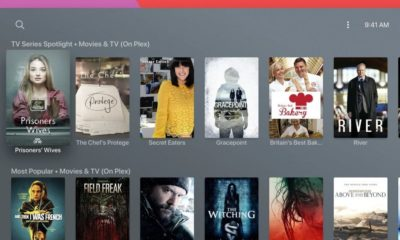 A series of Plex movies and TV shows on an Apple TV interface.