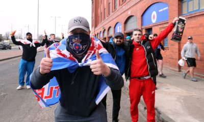 <p>Rangers fans outside the ground ahead of the Scottish Premiership match at Ibrox Stadium, Glasgow</p>
