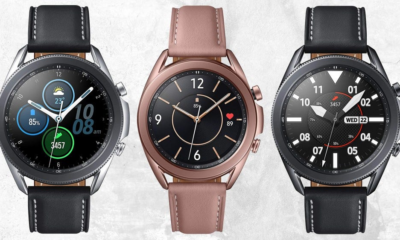 Three Samsung Galaxy Watch 3 models against white grunge wall background