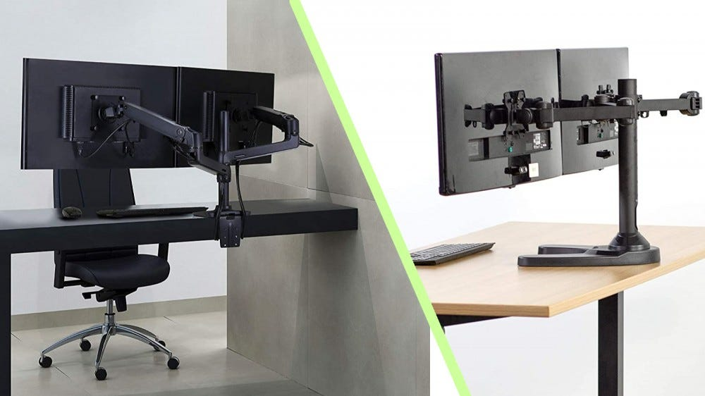 Ergotron LX Dual Monitor Stand and VIVO Freestanding Dual Monitor Stand pictures in a collage